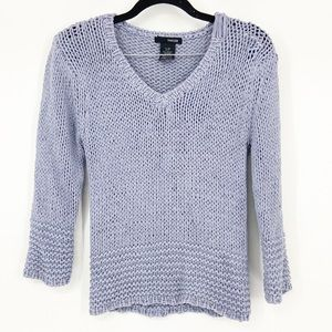 Kenzie Knit Vneck Sweater in Dusty Blue